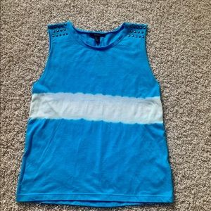 Forever 21 pool blue/white tie dyed tank; studs
